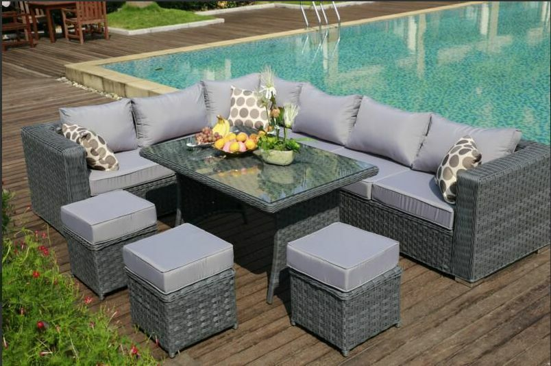 2016PAPAVER RANGE 9 Seater Rattan Corner Sofa Dining Set Garden Furnitu
