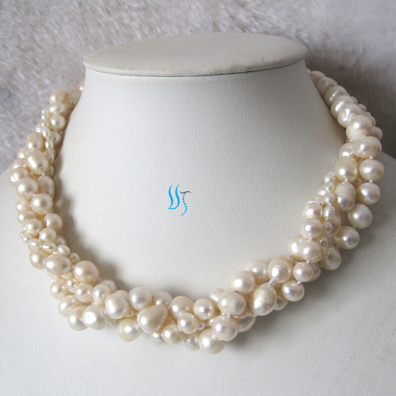 16 Quot 4 10mm 4row White Freshwater Pearl Necklace Jewelry Ebay