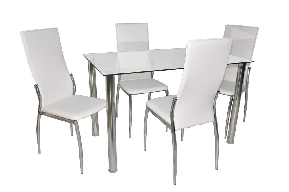 Clear Glass Dining Table Set And 4 White Cream Faux Leather Chairs Chrome Leg