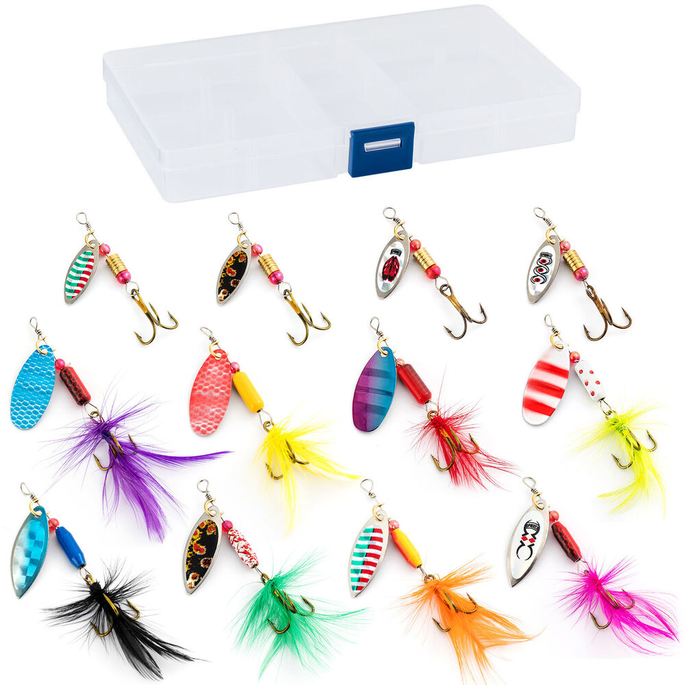 Fishing tackle box loaded 12 spoon spinner lure rooster for Bass fishing tackle box