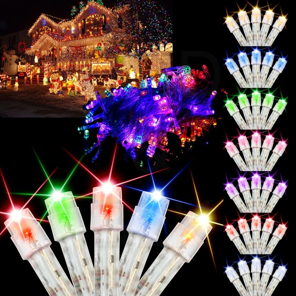10M 100 LED Bulbs Christmas Tree Fairy Wedding Party String Lights Xmas Decor eBay