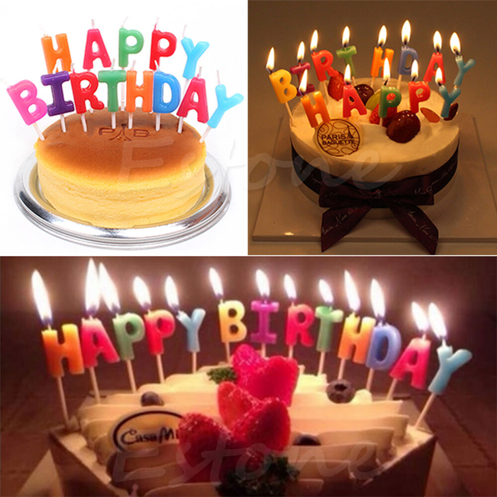Candles Decoration: Happy Birthday Letter Candles Toothpick Cake Cute Candle