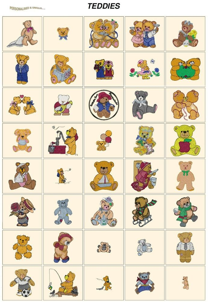 Teddies cd or usb machine embroidery designs files most