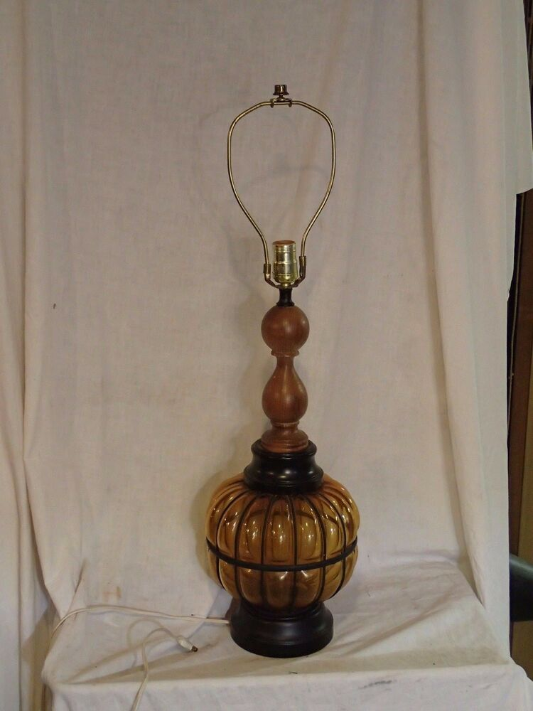 Vintage Chilo Amber Glass Ball Orb Table Lamp 23 1 2