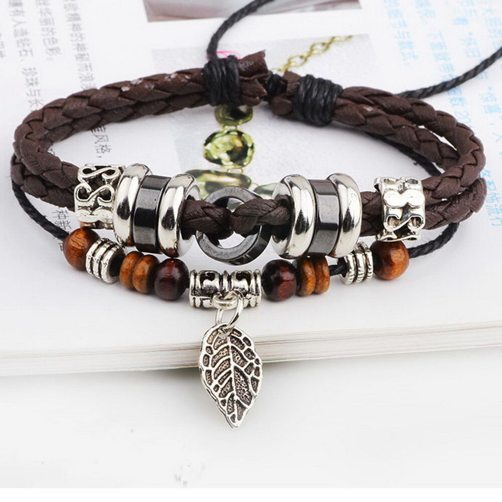 NEW Brown Leather Adjustable Bracelet Handmade Jewelry ...