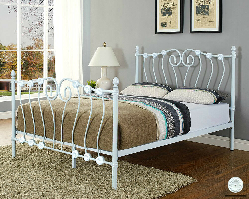 White metal bed frame double king size with mattress for Designer king size beds