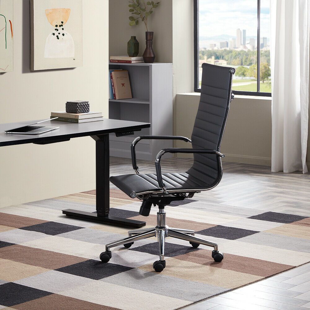 Executive Office Furniture: Modern High-Back Black Ribbed Upholstered PU Leather