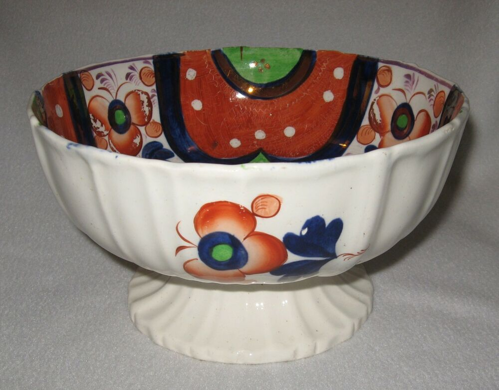 Mid 19th century gaudy welsh luster fruit centerpiece footed bowl ebay - Footed bowl centerpiece ...