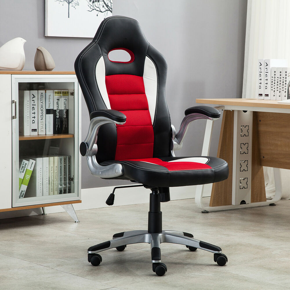 office chair ergonomic computer pu leather desk seat race