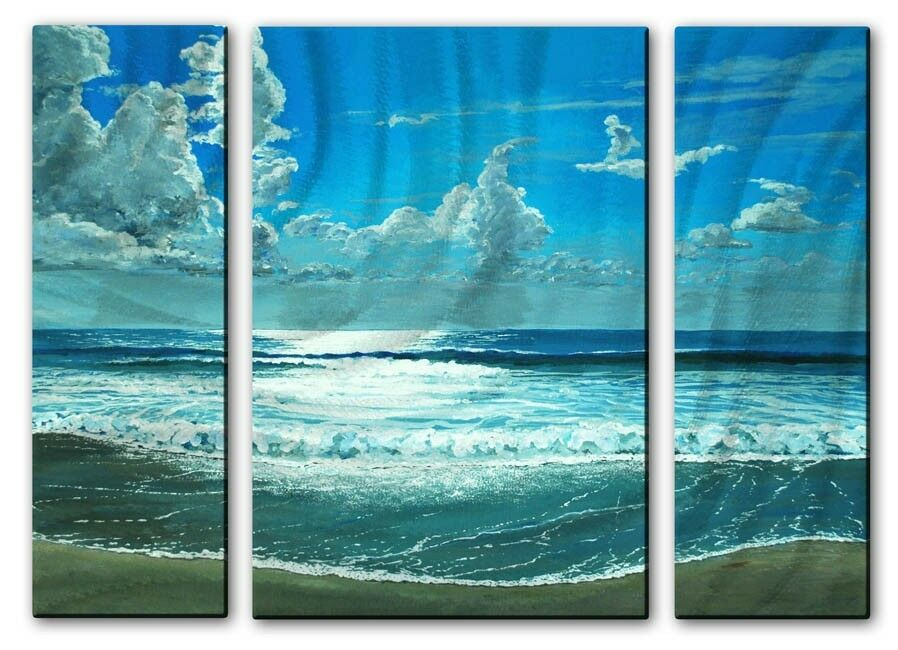 Beach Ocean Wall Decor : Metal art contemporary ocean beach wall sculpture painting