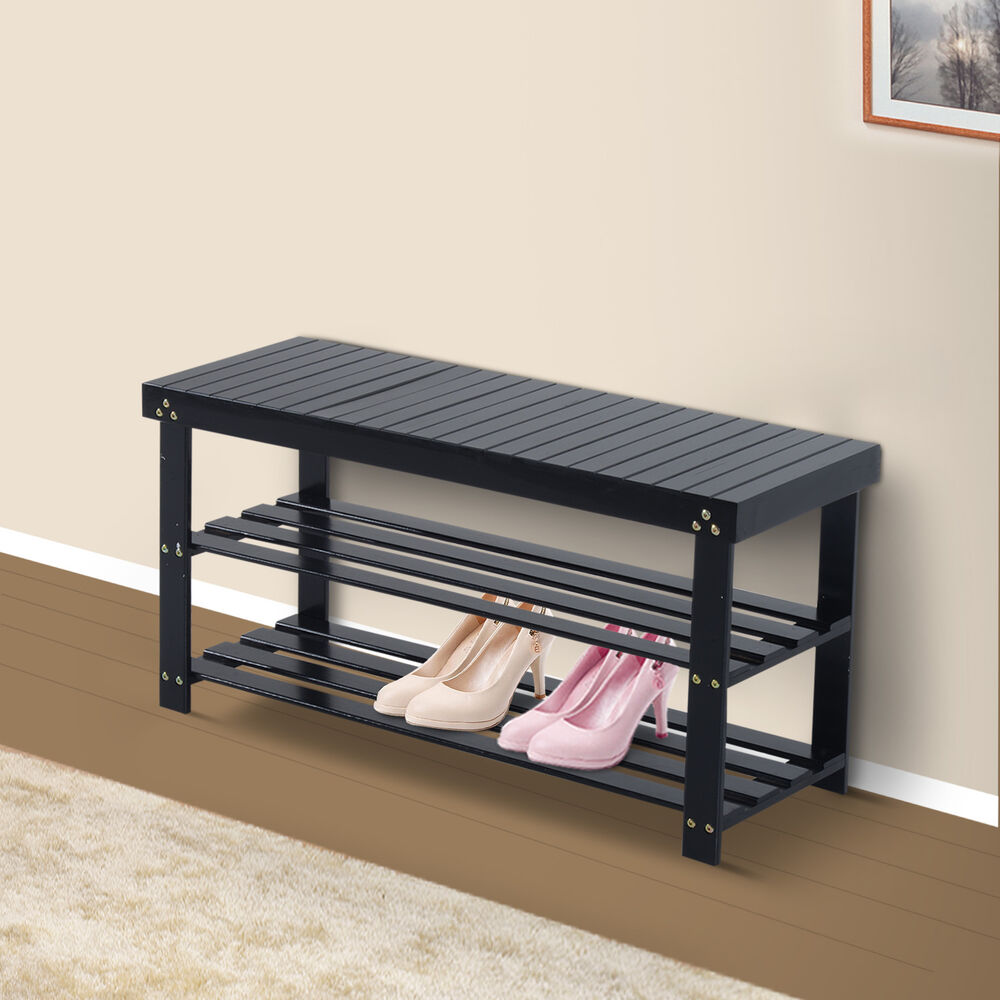 Wooden shoe bench storage seat 2 shelves rack organizer entryway furniture black ebay Bench with shelf