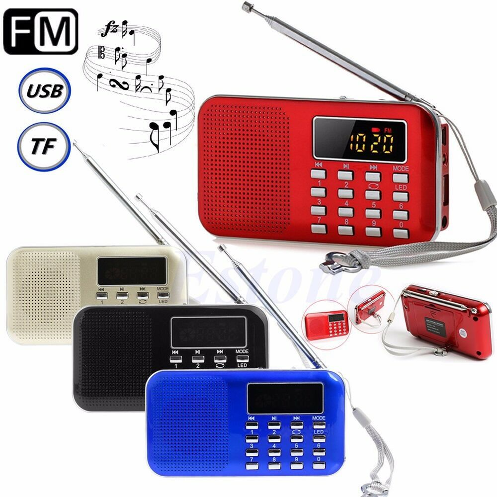 portable mini lcd digital fm radio speaker usb micro sd tf card mp3 music player ebay. Black Bedroom Furniture Sets. Home Design Ideas