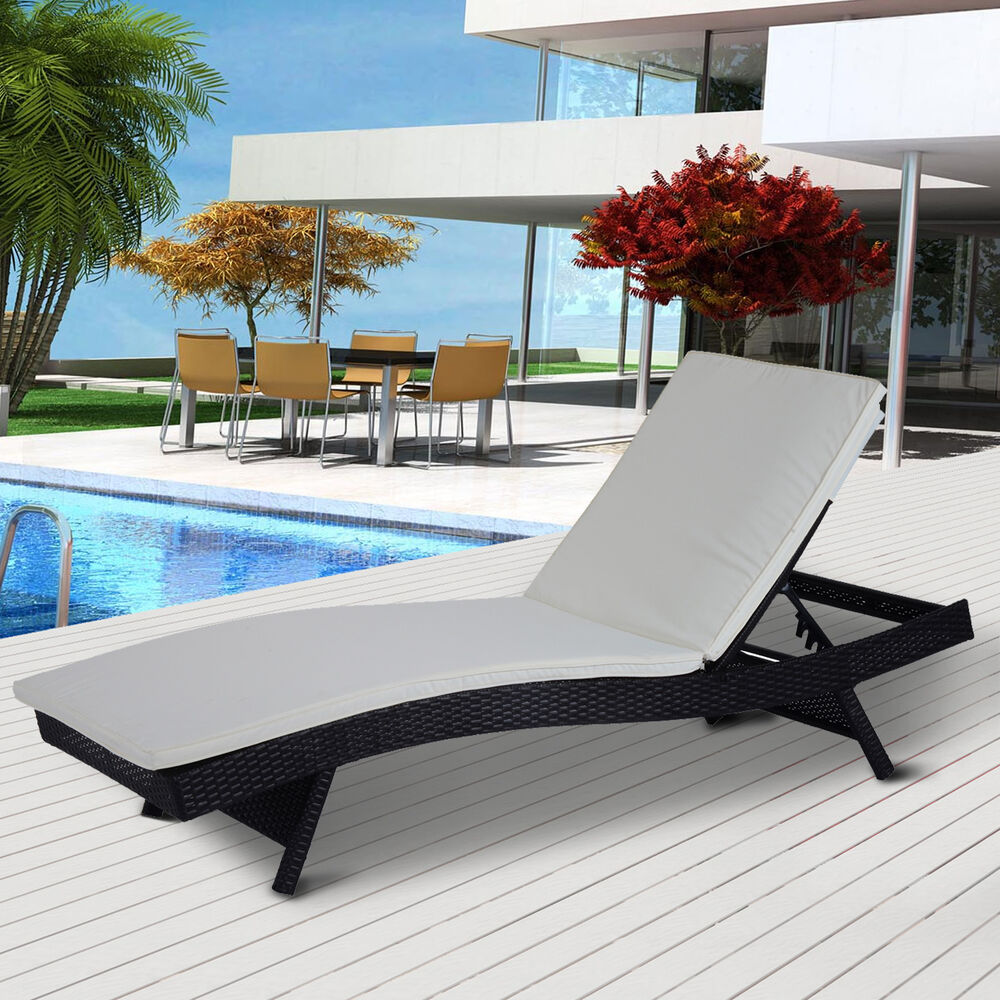 patio adjustable pool wicker chaise lounge chair pe rattan furniture w cushion ebay. Black Bedroom Furniture Sets. Home Design Ideas