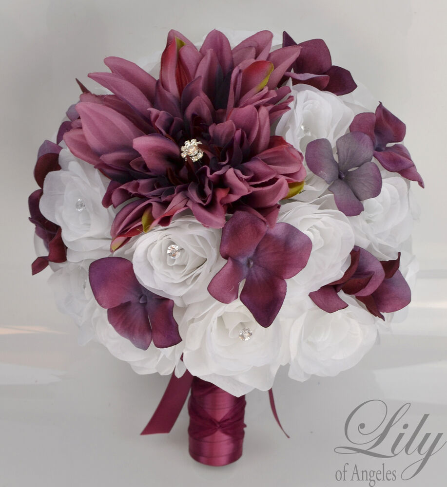 silk wedding bouquets 17piece package silk flower wedding bridal bouquet wine 7418