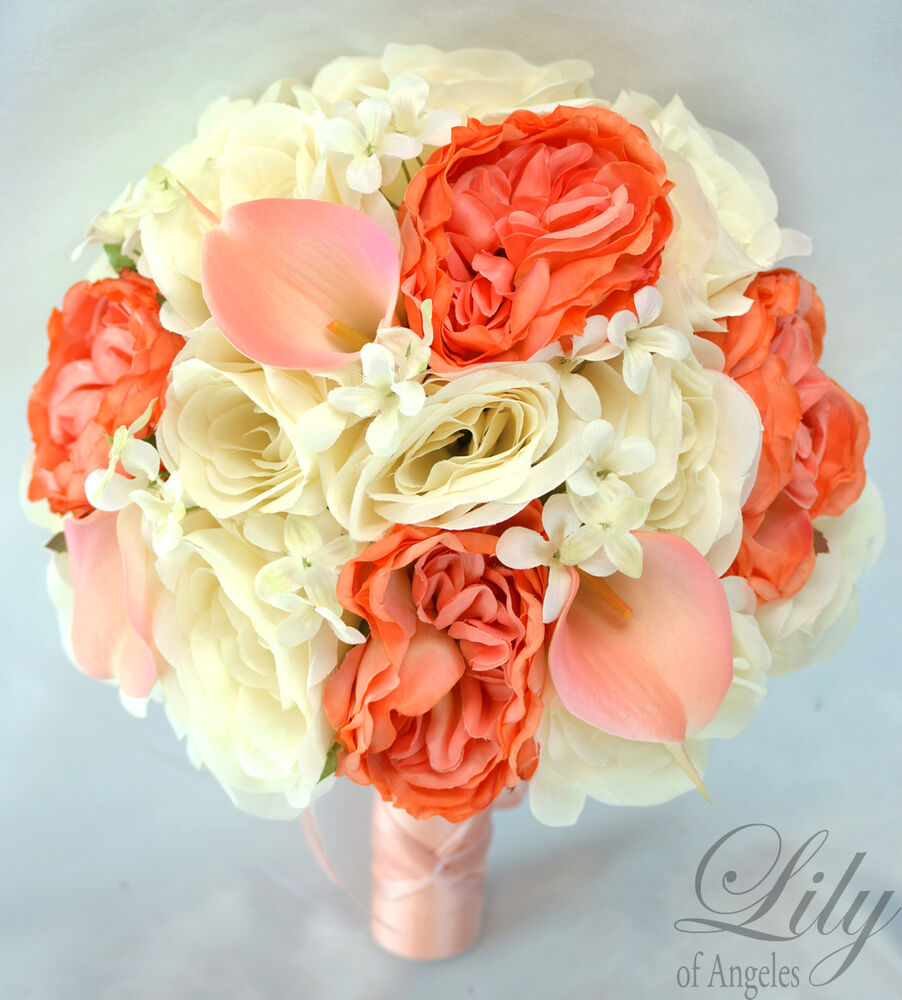 Real Vs Fake Flowers Wedding: 17 Piece Package Silk Flower Wedding Bridal Bouquet