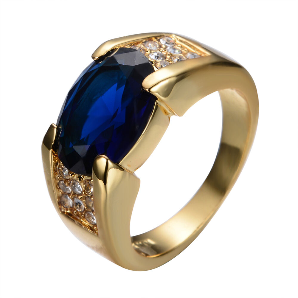 size6 12 blue sapphire big engagement ring 10kt