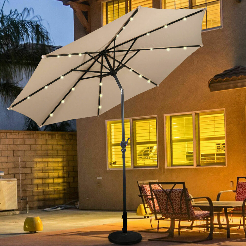 10FT Patio Solar Umbrella LED Patio Market Steel Tilt W