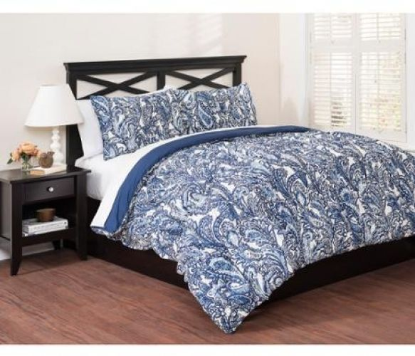 Blue paisley comforter set king size 3 piece bedding with for King shams on queen bed