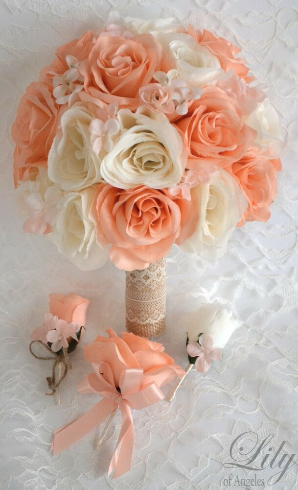 17 Piece Package Silk Flower Wedding Bridal Bouquet PEACH ...