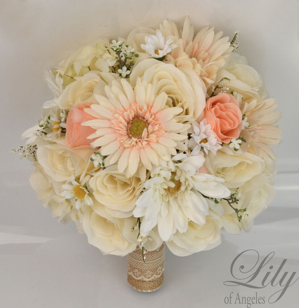17 Piece Package Silk Flower Wedding Bridal Bouquet CREAM ...
