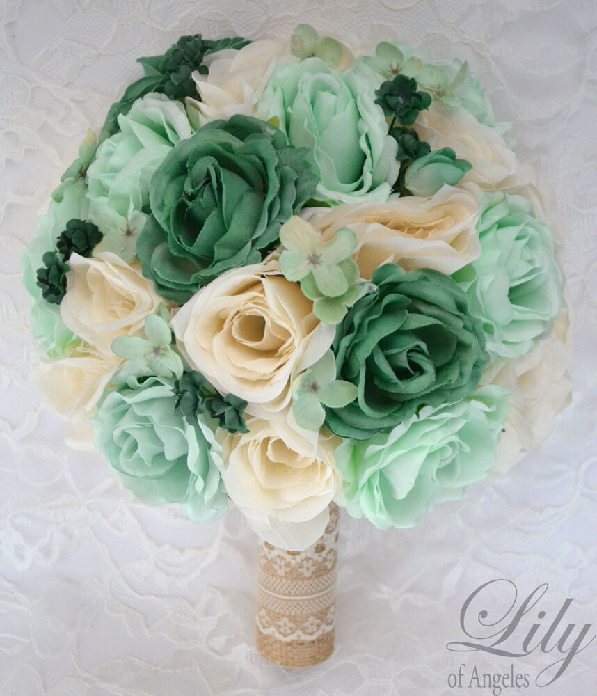 Bridal Bouquets Silk Flowers: 17 Piece Package Silk Flower Wedding Bridal Bouquet TEAL