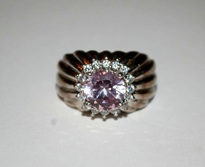 VINTAGE STERLING SILVER LIGHT PURPLE STONE RING MARKED WHD ...