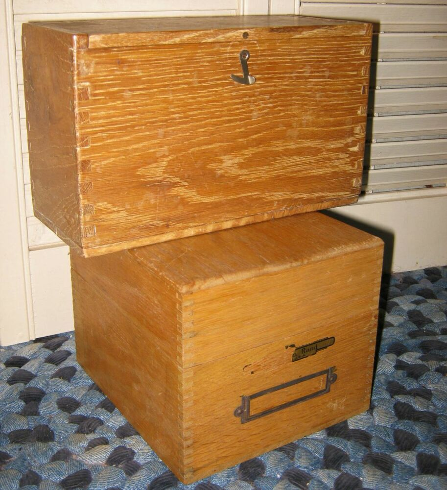Decorative Recipe Box 2: 2 Antique Jointed Rand OAK FILE BOX Wood INDUSTRIAL