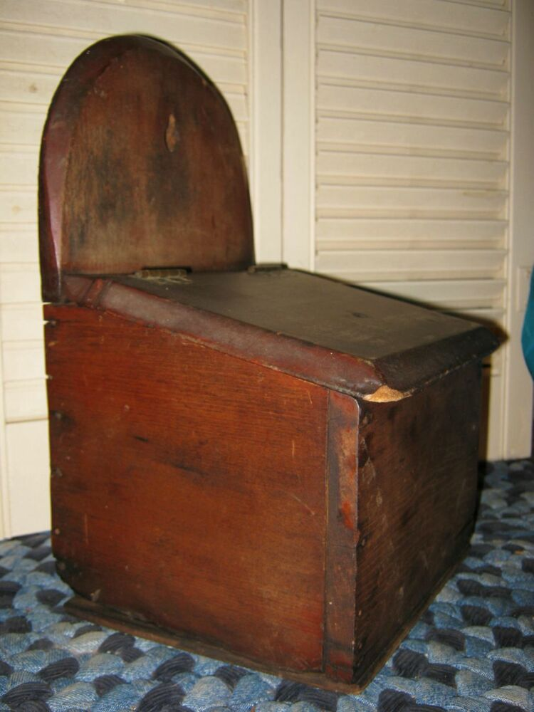 19th C Antique Walnut Hanging Salt Box Old Blackened Nails
