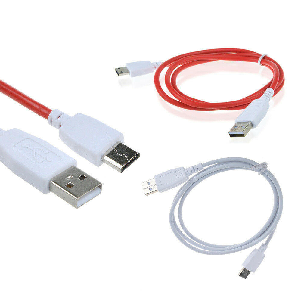 Red White 2x Usb Data Sync Transfer Charger Cable For Nabi