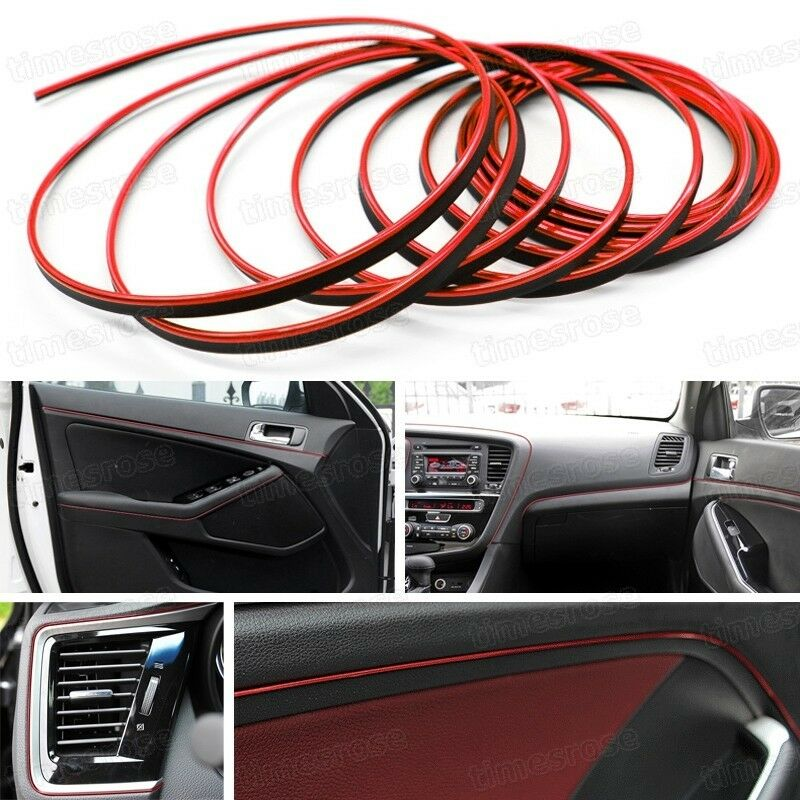 red 5m car truck interior exterior flexible moulding trim decorative strip line ebay. Black Bedroom Furniture Sets. Home Design Ideas