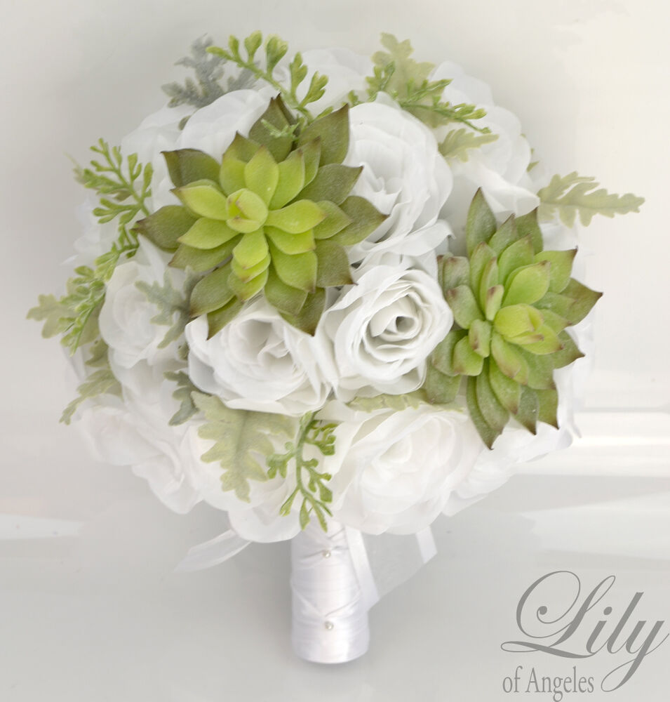 17 piece package silk flower wedding bridal bouquet sets succulent green white ebay. Black Bedroom Furniture Sets. Home Design Ideas