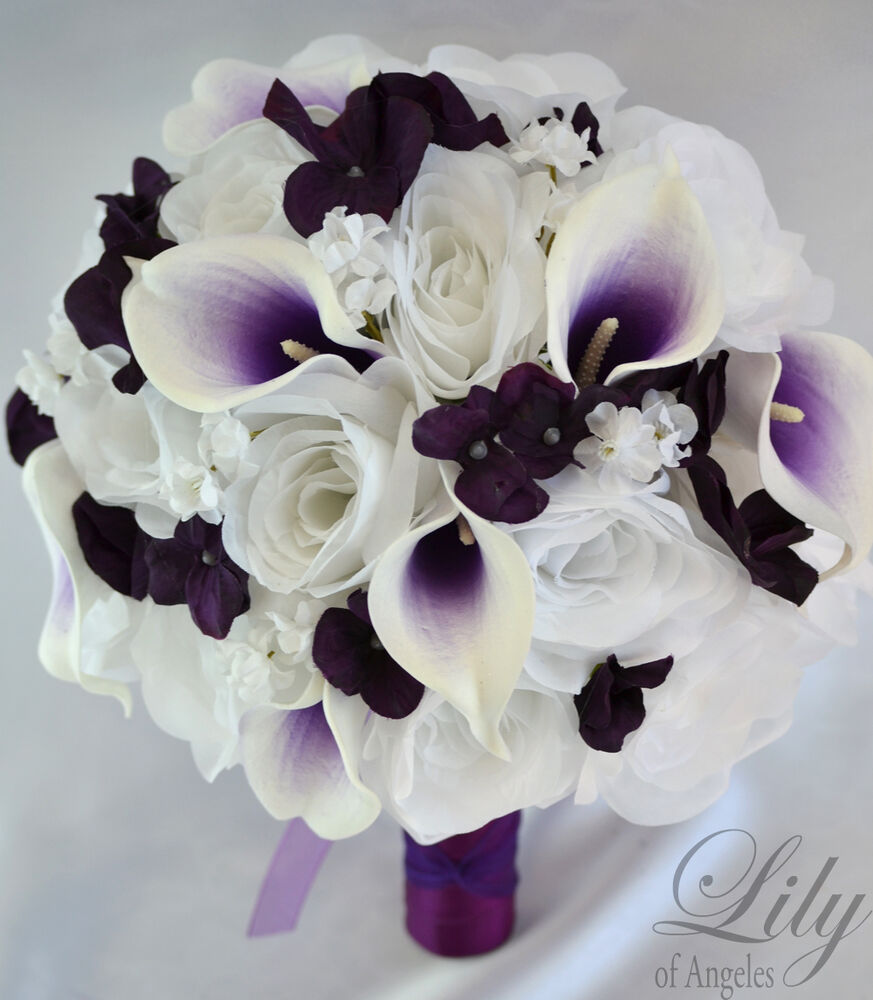 17 piece package silk flower wedding bridal bouquet picasso calla purple plum ebay. Black Bedroom Furniture Sets. Home Design Ideas