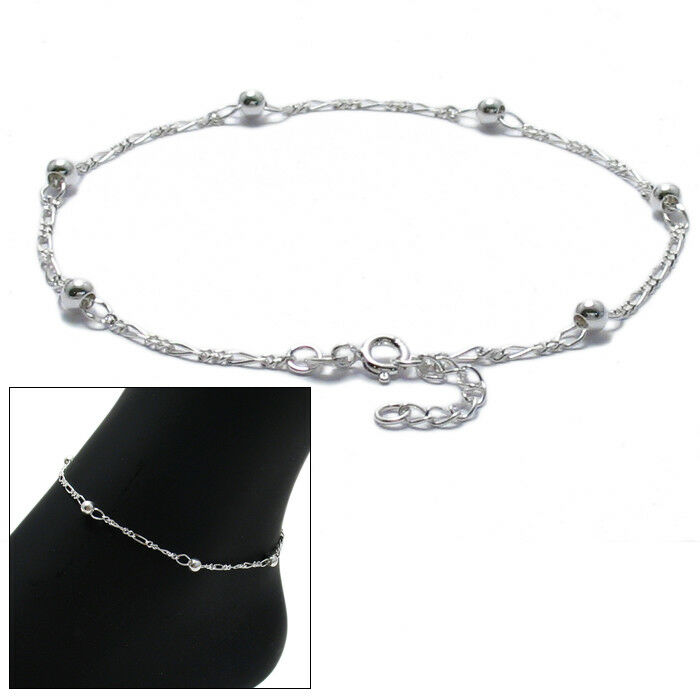 """925 Sterling Silver 9""""-10"""" Adjustable Figaro Beaded Ankle ..."""