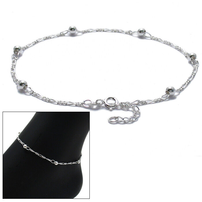 """925 Sterling Silver 9""""10"""" Adjustable Figaro Beaded Ankle. Collection Watches. Etched Engagement Rings. Cross Bangles. Silver Fashion Jewellery. Debossed Bracelet. Serpent Necklace. Stackable Bangle Bracelets With Charms. 3 Diamond Anniversary Band"""