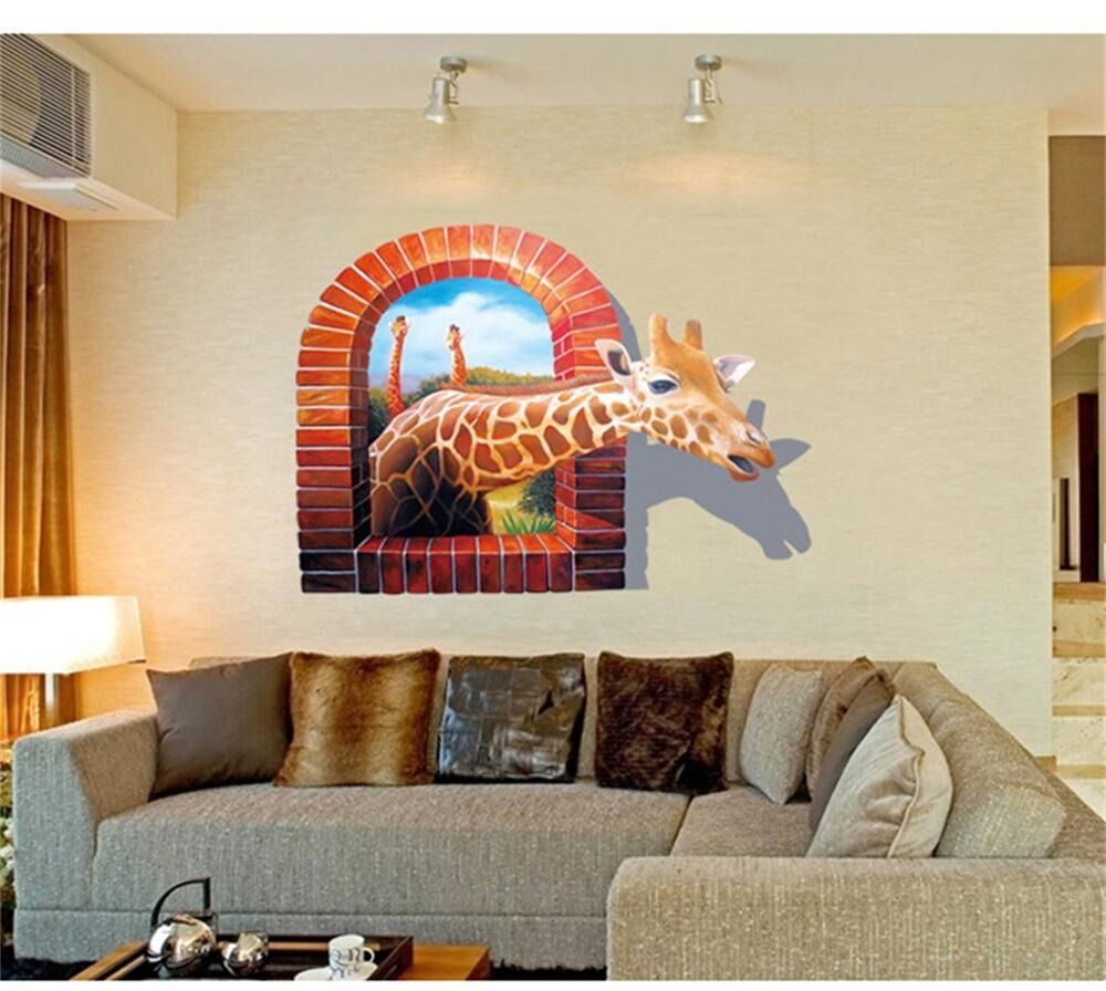Huge window 3d giraffe vew wall stickers art mural decal for Decor mural 3d