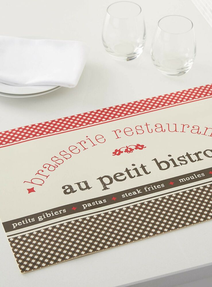 2 french cafe paris style theme table place mats kitchen for Kitchen table cafe menu