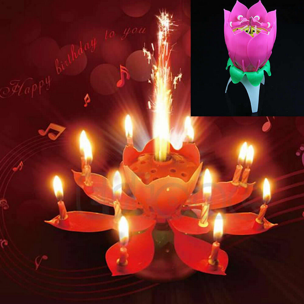 Magical Flower Happy Birthday Blossom Lotus Musical Candle