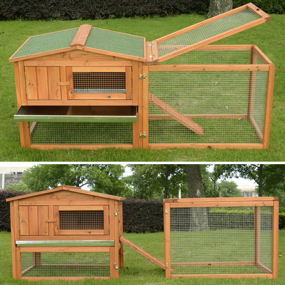 Pawhut wooden rabbit hutch bunny house small animal for Rabbit house images
