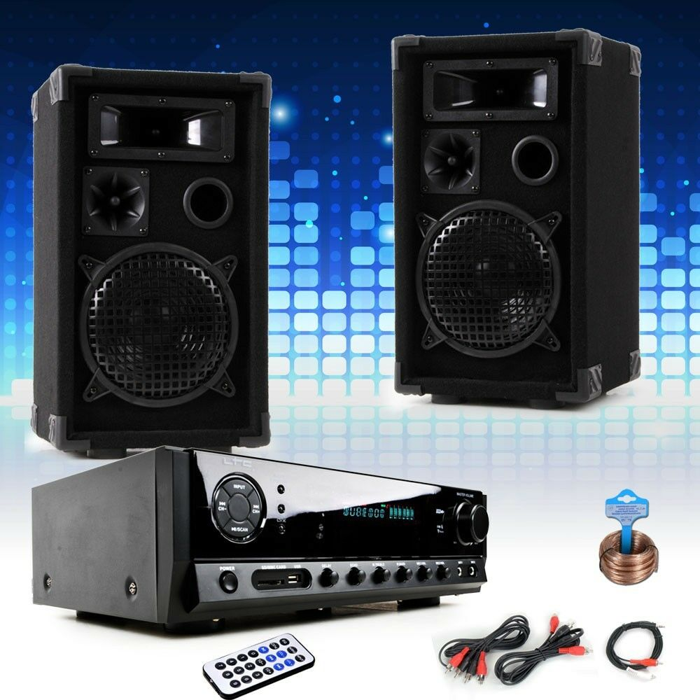 party musik system bass lautsprecher anschluss kabel bluetooth usb mp3 endstufe ebay. Black Bedroom Furniture Sets. Home Design Ideas