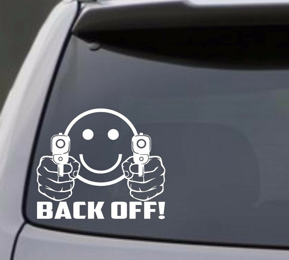 Smiley face guns back off vinyl decal sticker car Getting stickers off glass