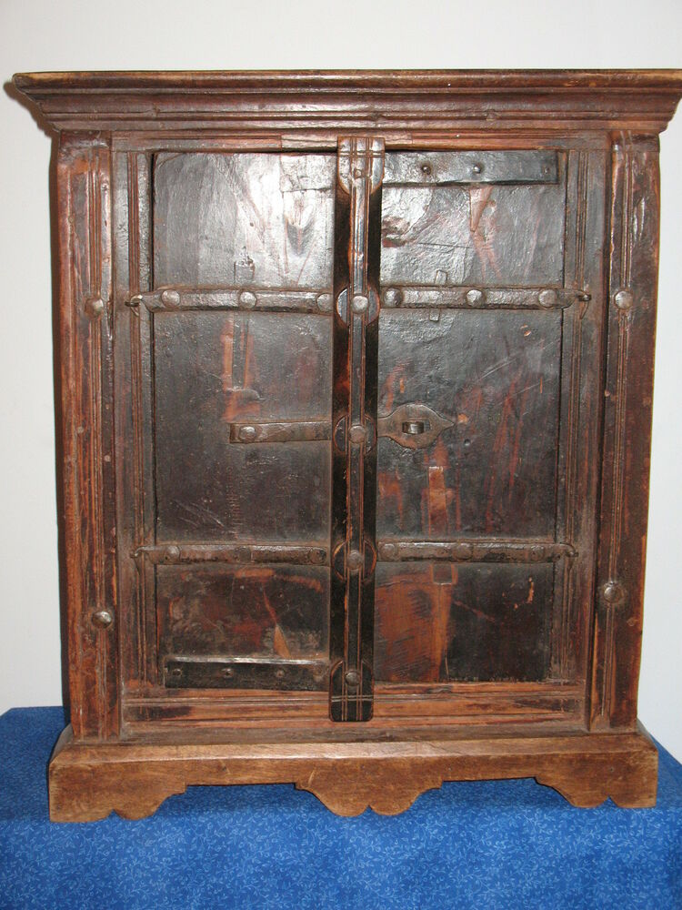 Vintage Wooden Cabinets ~ Old antique english wood wooden corner cabinet forged iron