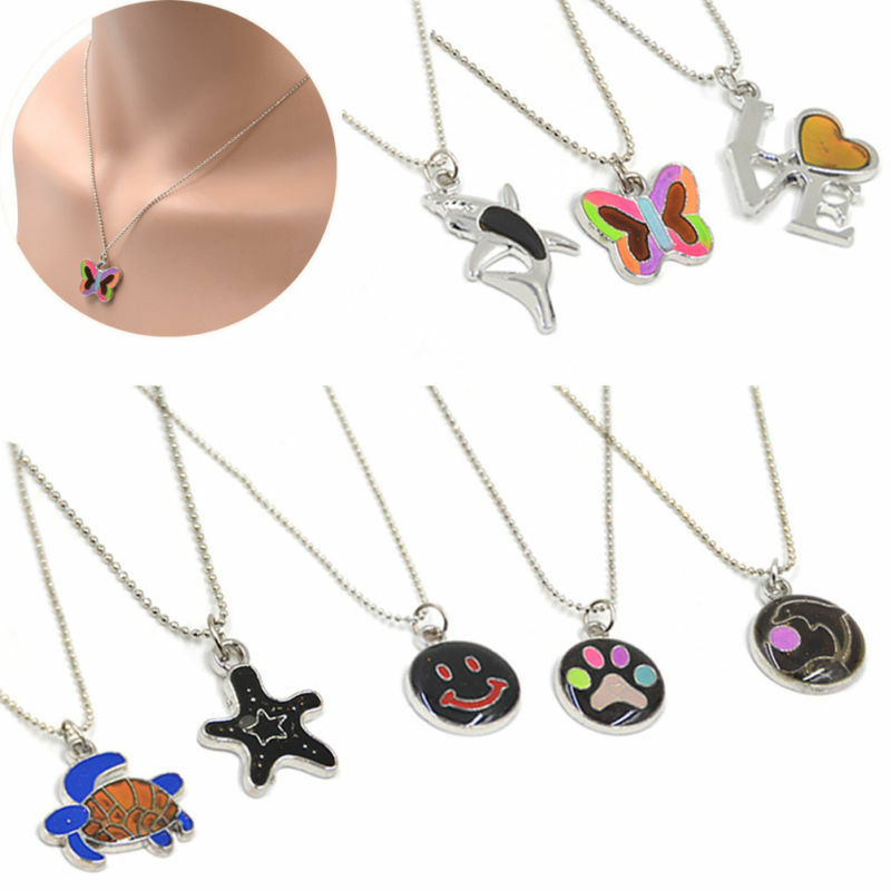 women men mood necklace multi color changing pendant