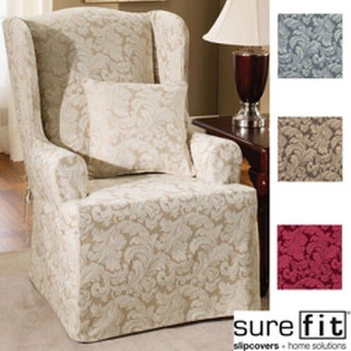 sure fit scroll wing chair slipcover ebay