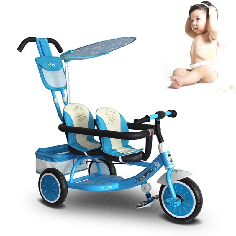 New Baby Twins Tricycle Stroller Toddler Double Seats
