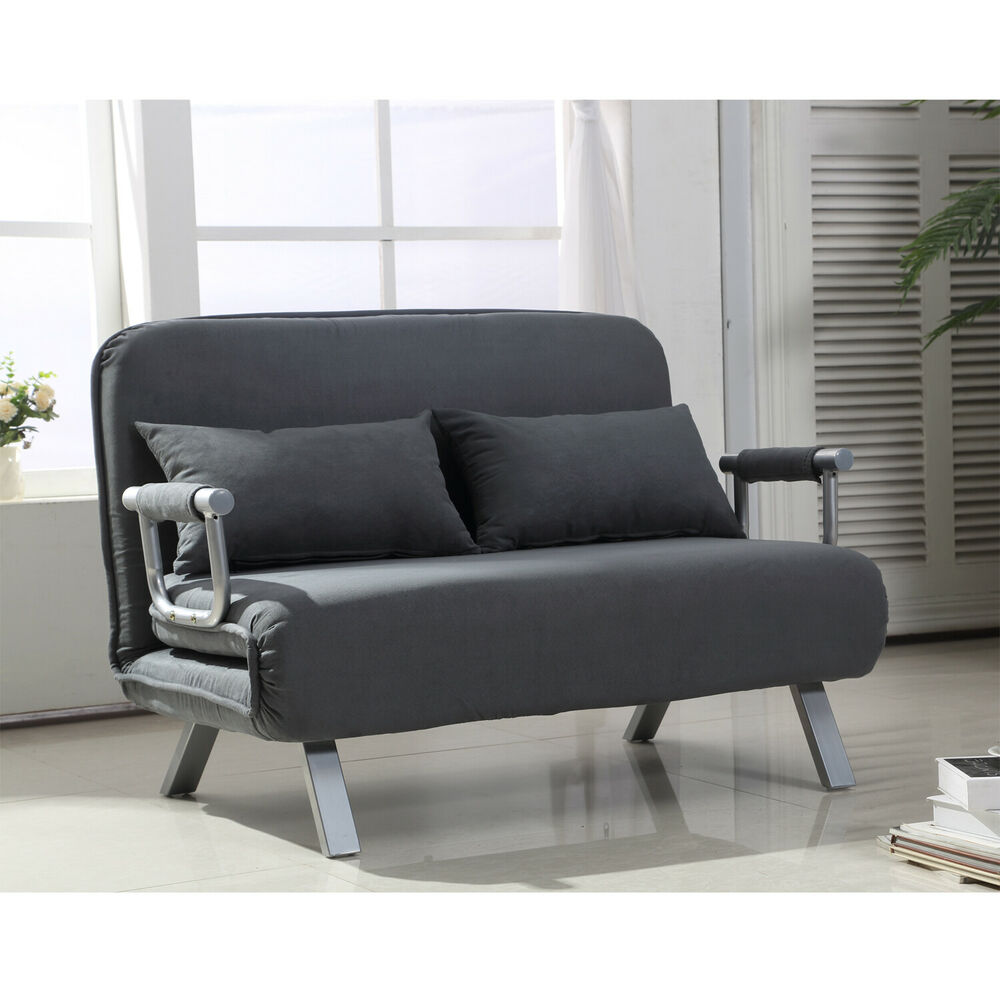 Sofa Bed Convertible Loveseat Couch Chair Suede Pillow Lounge Adjustable Grey Ebay