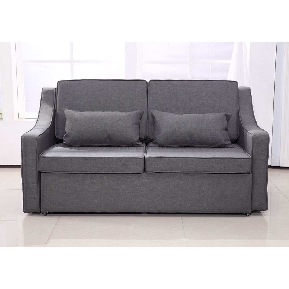 Sofa Bed Convertible Linen Lounge Sleeper Couch Adjustable