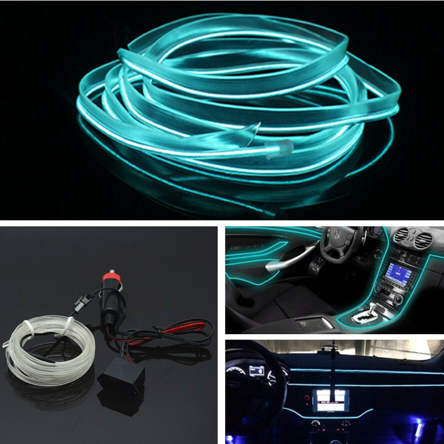 Car Auto 2M ICE BLUE EL-Wire Unique Decor Fluorescent Strip Neon ...