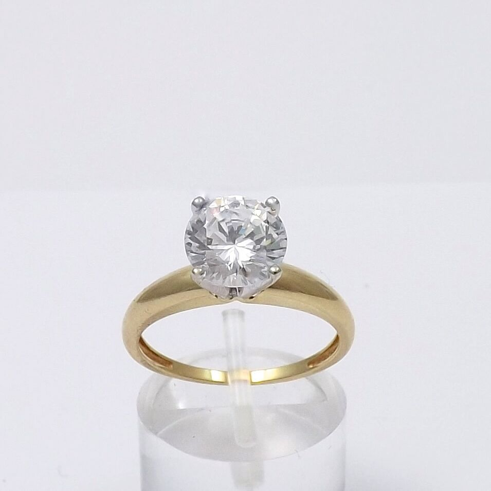 14k gold 3 5ctw diamonique dq solitaire engagement ring sz