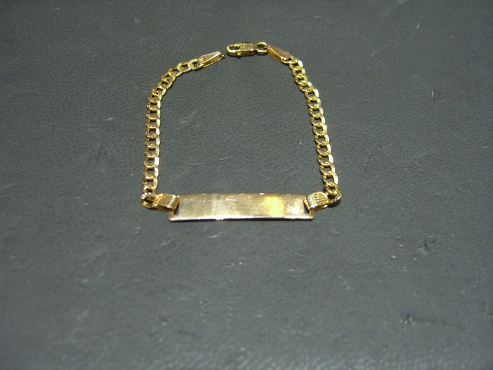 Fine Kids Yellow Gold Name Id Plate Bracelet 6 Quot Long 14