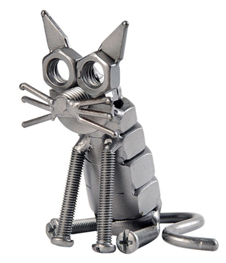 Hand crafted recycled metal cat art sculpture figurine ebay for Handcrafted or hand crafted
